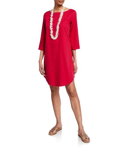 3/4-Sleeve Soft Cotton Shirttail Dress