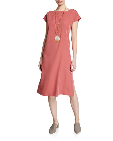 Eileen Fisher Sand-Washed Tencel Short-Sleeve Dress