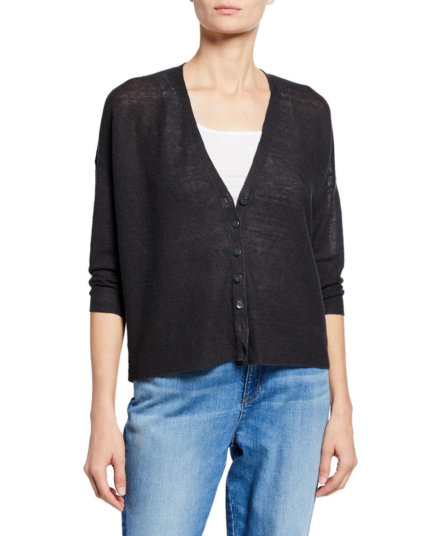 b31a0dcca2 Eileen FisherPlus Size 3 4-Sleeve Organic Linen Button-Front Cardigan