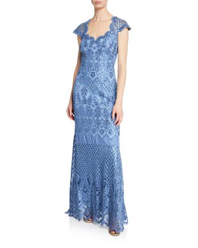 Tadashi Shoji Sequin Lace Sweetheart Cap Sleeve Gown