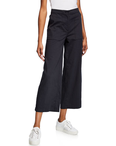 High-Waist Cotton Twill Flared-Leg Ankle Pants