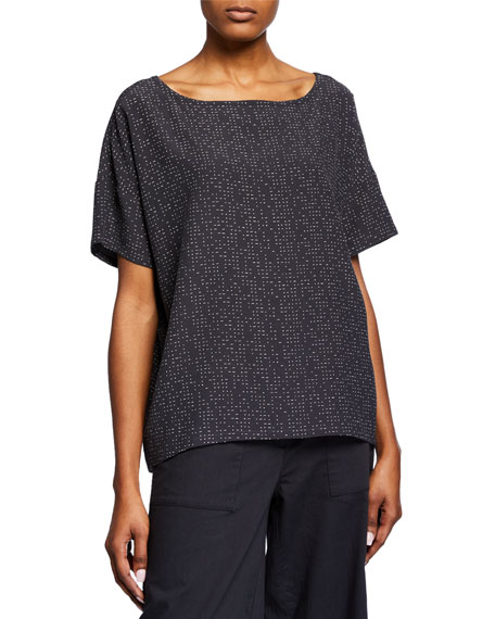 Eileen Fisher Morse Code Boat-Neck Short-Sleeve Top