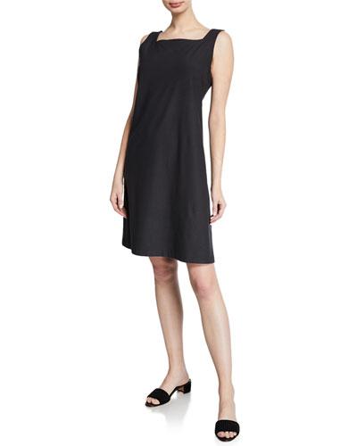 Sleeveless Square-Neck Stretch Crepe Dress  Petite