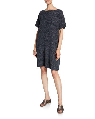 Morse Code Short-Sleeve Shift Dress