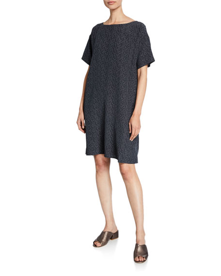 Eileen Fisher Plus Size Morse Code Short-Sleeve Shift