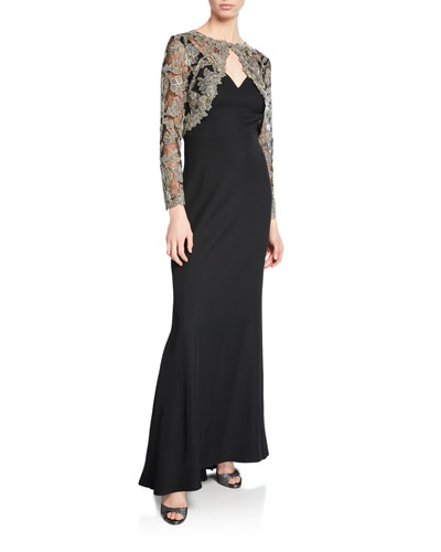 Lace & Crepe Illusion Long-Sleeve Gown