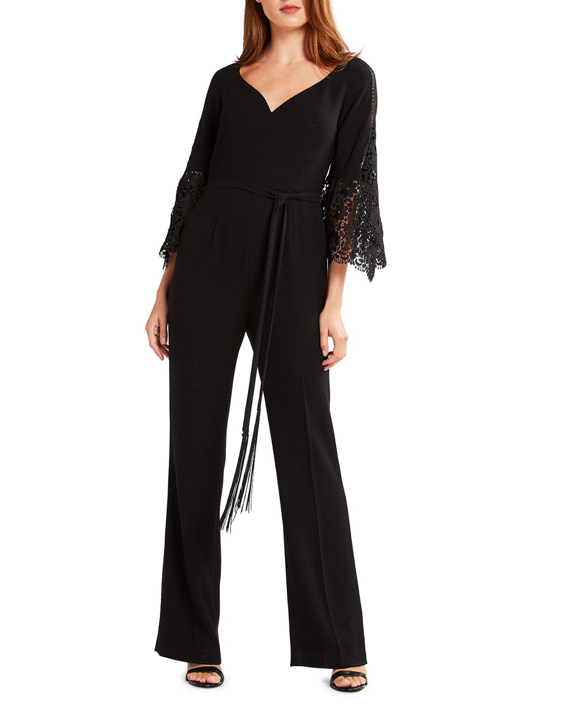 Elie Tahari Tina Lace Bell-Sleeve Straight-Leg Jumpsuit with Self-Tie Belt