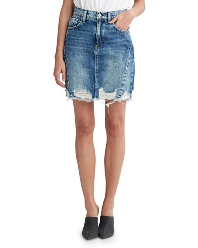 Lulu Frayed Denim Pencil Skirt