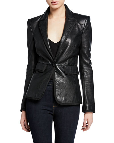 Paulie Leather Tuxedo Jacket
