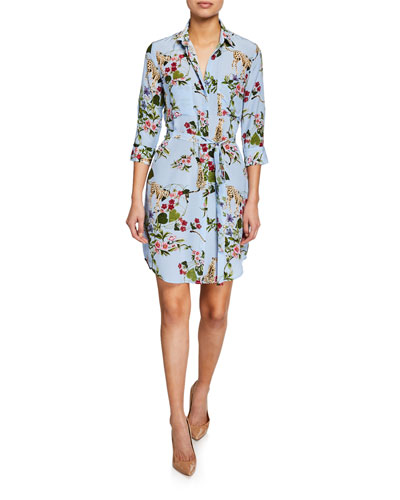 Stella Printed 3/4-Sleeve Silk Shirt Dress