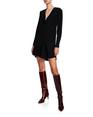 7058c6f1118b Rag   Bone Shields V-Neck Long-Sleeve Silk Dress