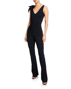 e4f52889c66b Chiara Boni La Petite Robe Suni V-Neck Sleeveless Straight-Leg Jumpsuit w