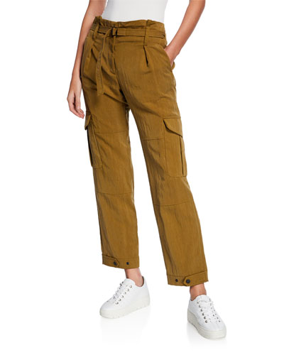 Tilda Belted Straight-Leg Cargo Pants