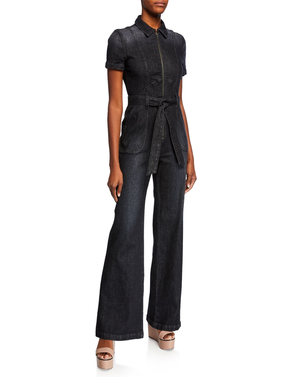 7aaa94fbe7e ALICE + OLIVIA JEANS Gorgeous Wide-Leg Denim Jumpsuit