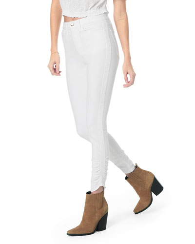 The Charlie Ankle High-Rise Jeans w/ Gathered Hem