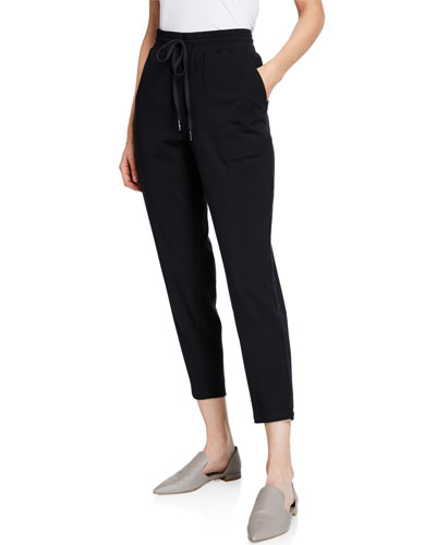 Drawstring Slouchy Jersey Straight-Leg Ankle Pants