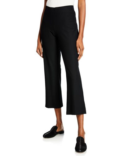 Stretch Crepe Ankle Flare Pants