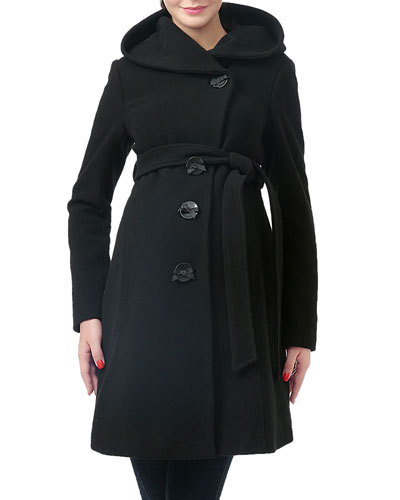 Lora Button-Front Hooded Wool-Blend Coat
