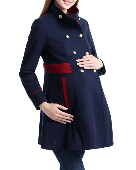 Maternity Pan Funnel-Neck Double-Breasted Peacoat
