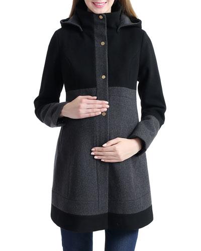 Maternity Tessa Wool-Blend Colorblock Coat with Hood