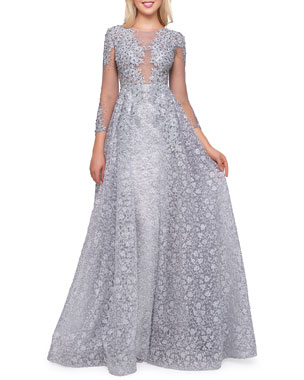 06611f2252b Mac Duggal Boat-Neck 3 4-Sleeve Illusion Gown with Lace Overlay
