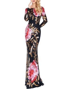 60e6a6840a4 Mac Duggal Floral Sequin Long-Sleeve Column Gown