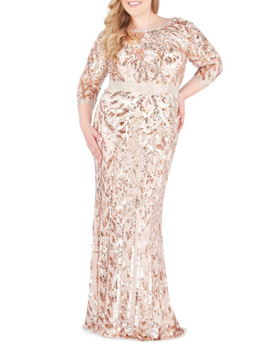 Plus Size Bateau-Neck 3/4-Sleeve Sequin Column Gown