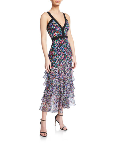 Lana Floral V-Neck Tiered Flounce Dress