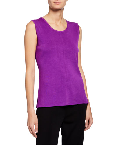 Scoop-Neck Knit Tank with Side Slits  Plus Size