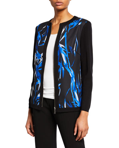 Plus Size Printed Zip-Front Long-Sleeve Jacket