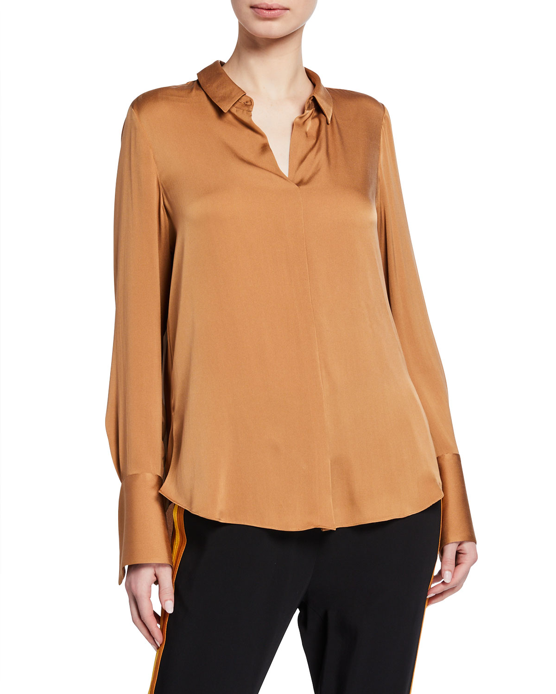 ab66131e8a7b9 Kobi Halperin Rayne Long-Sleeve Collared Silk Blouse