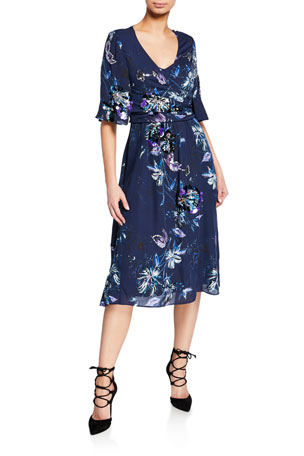 Kobi Halperin Maria Printed Short-Sleeve Midi Wrap Dress with Paillettes
