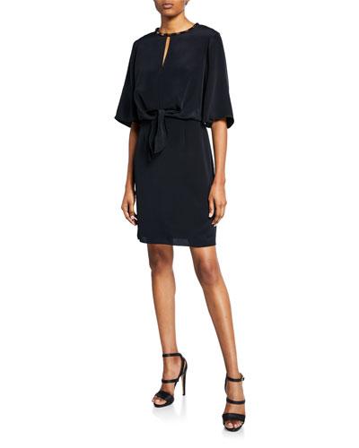 Mallory Elbow-Sleeve Silk Dress