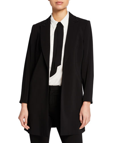 Polly Embroidered Open-Front Blazer