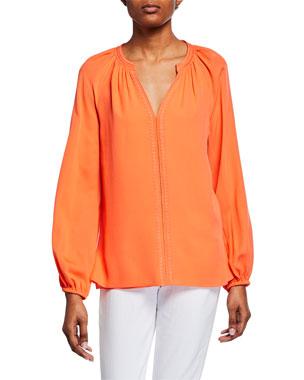 283ceb799 Kobi Halperin Kirna V-Neck Long-Sleeve Silk Blouse