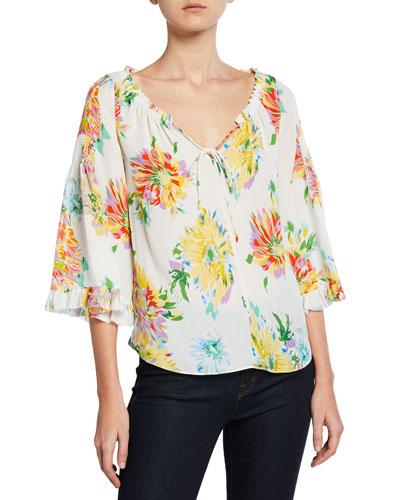 Heidi Floral-Print 3/4-Sleeve Blouse