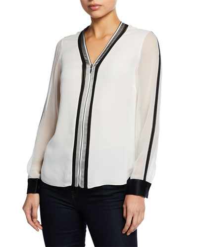 Vallie Zip-Front Long-Sleeve Blouse with Contrast Trim & Cuffs