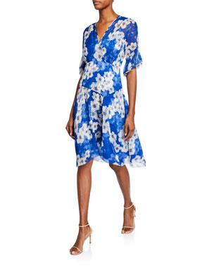 Elie Tahari Ava Floral-Print Surplice Short-Sleeve Silk Dress 54f0f1acf990