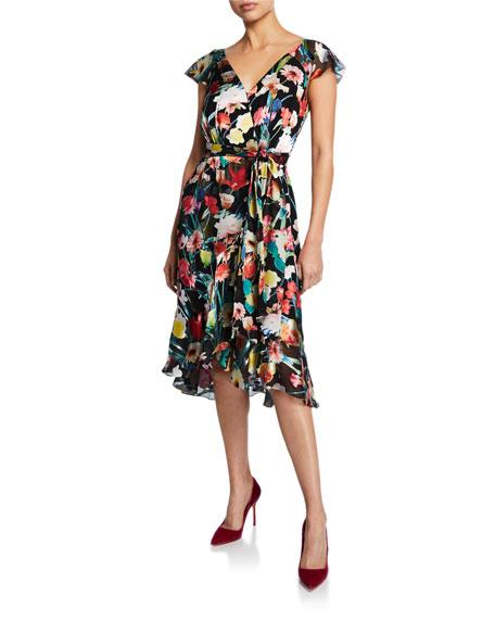 Elie Tahari Ryder Floral-Print V-Neck Cap-Sleeve Dress