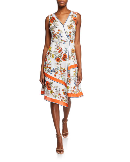 Elie Tahari Dresses JANNELE FLORAL-PRINT V-NECK SLEEVELESS FIT-AND-FLARE DRESS