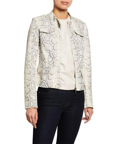 Gwen Zip-Front Snake-Print Lambskin Leather Jacket