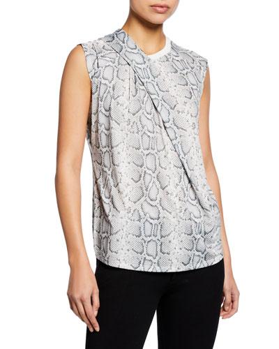 Kourtney Knit Snake-Print Crewneck Sleeveless Top