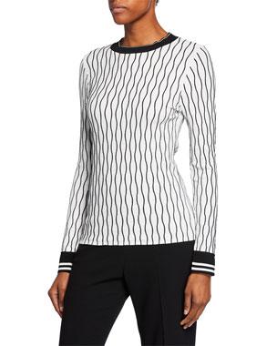 8c53e9c0c143b Elie Tahari Emile Wave-Stripe Long-Sleeve Sweater w  Contrast Trim