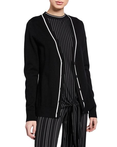 Elie Tahari Sweaters LUELLA V-NECK BUTTON-FRONT MERINO WOOL SWEATER