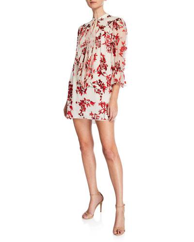 Alice Olivia Danika Tie Neck Gathered Velvet Burnout Dress