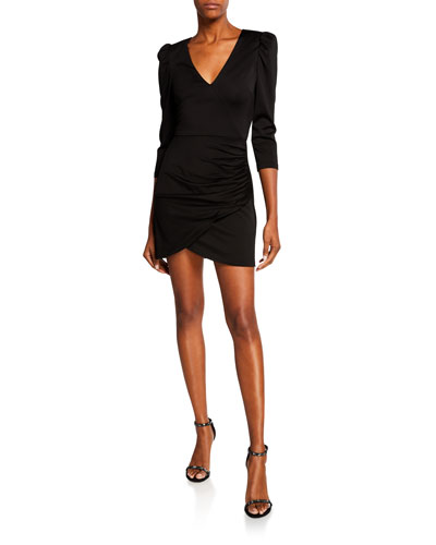 Judy 3/4-Sleeve Ruched Dress