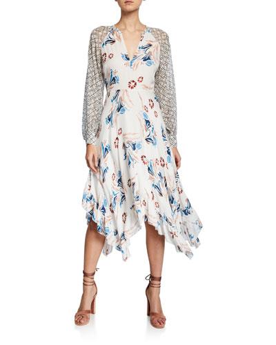 Morley V-Neck Long-Sleeve A-Line Dress