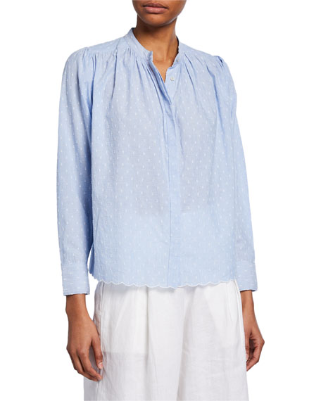 Joie Tops ABIDAN EMBROIDERED COTTON TOP