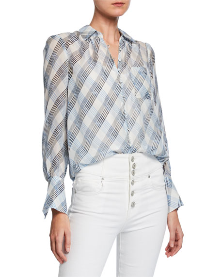 Joie Tops MALCAH CHECK BUTTON-FRONT SILK TOP