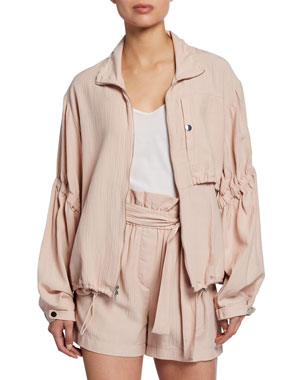 ff85fa102c2ad 3.1 Phillip Lim Zip-Front Anorak Jacket with Cinched Sleeves